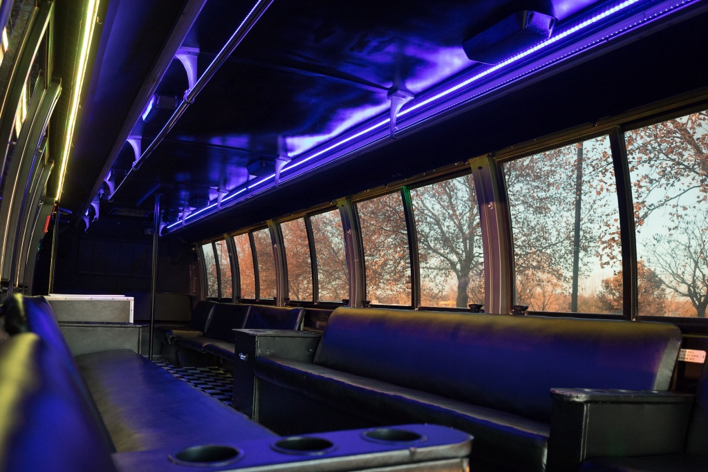 Orange Party Bus (Interior, Rear, Purple Lighting, View 1)