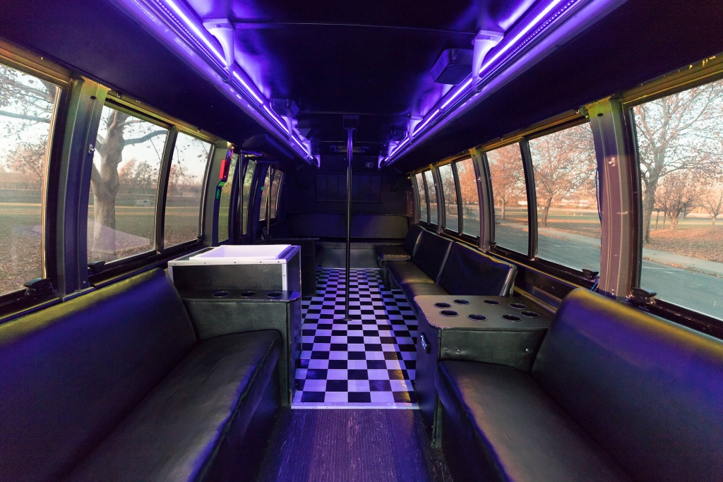 Orange Party Bus (Interior, Rear, Purple Lighting, View 3)
