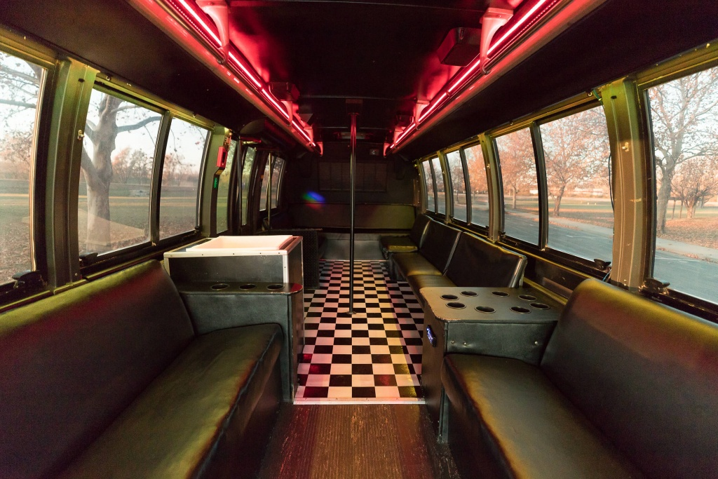 Orange Party Bus (Interior, Rear, Red Lighting, View 1)