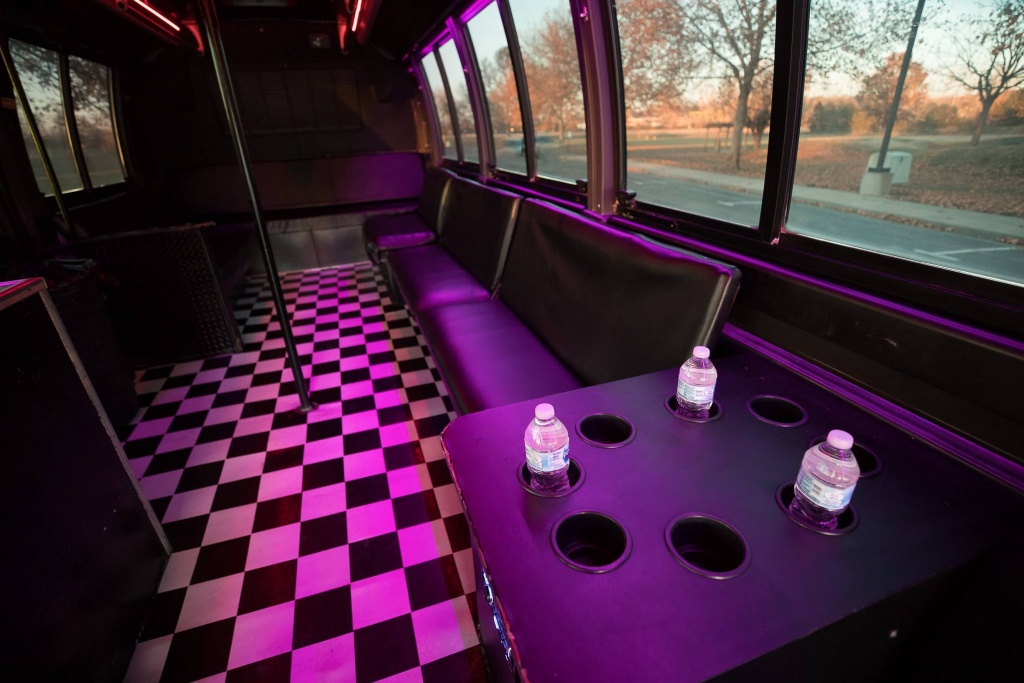 Orange Party Bus (Interior, Rear, Beverage Holders)